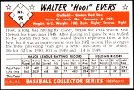 1953 Bowman REPRINT #25  Hoot Evers  Back Thumbnail