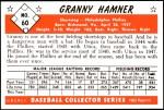1953 Bowman REPRINT #60  Granny Hamner  Back Thumbnail