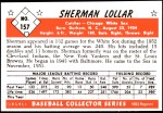 1953 Bowman REPRINT #157  Sherm Lollar  Back Thumbnail