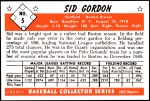 1953 Bowman REPRINT #5  Sid Gordon  Back Thumbnail