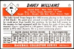 1953 Bowman REPRINT #1  Davey Williams  Back Thumbnail