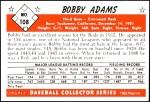 1953 Bowman REPRINT #108  Bobby Adams  Back Thumbnail