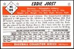 1953 Bowman REPRINT #105  Eddie Joost  Back Thumbnail