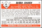 1953 Bowman REPRINT #138  Bubba Church  Back Thumbnail