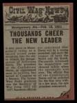 1962 Topps Civil War News #2   President Jeff Davis Back Thumbnail