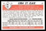 1953 Bowman B&W Reprint #34  Ebba St. Claire  Back Thumbnail