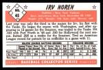 1953 Bowman B&W Reprint #45  Irv Noren  Back Thumbnail