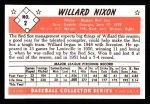 1953 Bowman B&W Reprint #2  Willard Nixon  Back Thumbnail