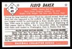 1953 Bowman B&W Reprint #49  Floyd Baker  Back Thumbnail