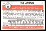 1953 Bowman Black and White Reprints #29  Sid Hudson  Back Thumbnail