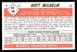 1953 Bowman Black and White Reprint #28  Hoyt Wilhelm  Back Thumbnail