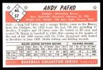 1953 Bowman B&W Reprint #57  Andy Pafko  Back Thumbnail