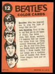 1964 Topps Beatles Color #12   John, Ringo and Paul Back Thumbnail