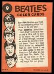 1964 Topps Beatles Color #9   Ringo and John Back Thumbnail