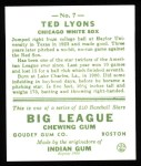 1933 Goudey Reprint #7  Ted Lyons  Back Thumbnail