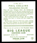 1933 Goudey Reprint #21  Phil Collins  Back Thumbnail