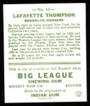 1933 Goudey Reprint #13  Lafayette Thompson  Back Thumbnail