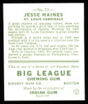 1933 Goudey Reprint #73  Jesse Haines  Back Thumbnail