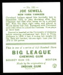 1933 Goudey Reprint #165  Joe Sewell  Back Thumbnail