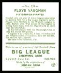 1933 Goudey Reprint #229  Arky Vaughan  Back Thumbnail