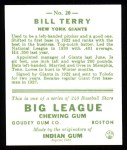 1933 Goudey Reprint #20  Bill Terry  Back Thumbnail