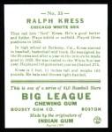 1933 Goudey Reprint #33  Ralph Kress  Back Thumbnail