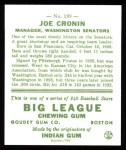 1933 Goudey Reprint #189  Joe Cronin  Back Thumbnail