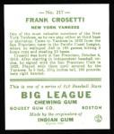 1933 Goudey Reprint #217  Frank Crosetti  Back Thumbnail