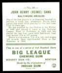 1933 Goudey Reprint #85  Heinie Sand  Back Thumbnail