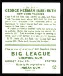 1933 Goudey Reprint #144  Babe Ruth  Back Thumbnail