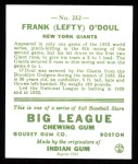 1933 Goudey Reprint #232  Lefty O'Doul  Back Thumbnail