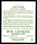 1933 Goudey Reprint #157  Sammy Byrd  Back Thumbnail