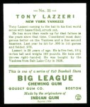 1933 Goudey Reprints #31  Tony Lazzeri  Back Thumbnail