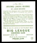 1933 Goudey Reprint #198  Jack Burns  Back Thumbnail