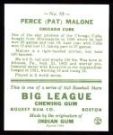 1933 Goudey Reprint #55  Pat Malone  Back Thumbnail