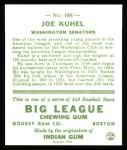 1933 Goudey Reprints #108  Joe Kuhel  Back Thumbnail