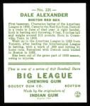 1933 Goudey Reprint #221  Dale Alexander  Back Thumbnail