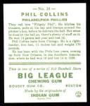 1933 Goudey Reprints #21  Phil Collins  Back Thumbnail