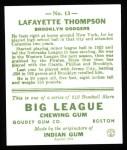 1933 Goudey Reprint #13  Lafayette Thompson  Back Thumbnail