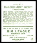 1933 Goudey Reprint #202  Gabby Hartnett  Back Thumbnail