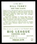 1933 Goudey Reprint #20  Bill Terry  Back Thumbnail