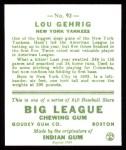 1933 Goudey Reprint #92  Lou Gehrig  Back Thumbnail
