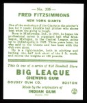 1933 Goudey Reprint #235  Fred Fitzsimmons  Back Thumbnail