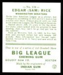 1933 Goudey Reprints #134  Sam Rice  Back Thumbnail