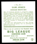 1933 Goudey Reprint #81  Sam Jones  Back Thumbnail