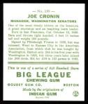 1933 Goudey Reprints #189  Joe Cronin  Back Thumbnail