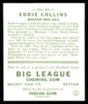 1933 Goudey Reprint #42  Eddie Collins  Back Thumbnail