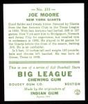 1933 Goudey Reprint #231  Joe Moore  Back Thumbnail