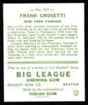 1933 Goudey Reprints #217  Frank Crosetti  Back Thumbnail