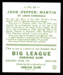 1933 Goudey Reprints #62  Pepper Martin  Back Thumbnail